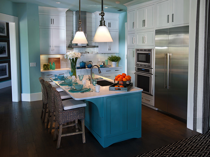 Painted blue island French Kitchen
